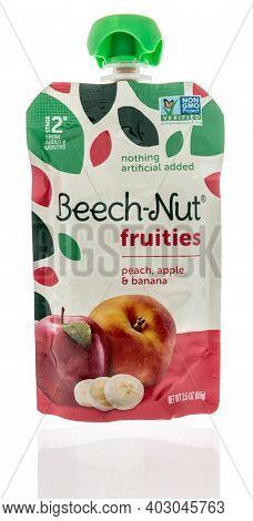 Winneconne, Wi -9 January 2021: A Package Of Package Of Beech Nut Fruites Pouch On An Isolated Backg