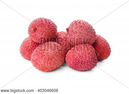 Pile Of Fresh Ripe Lychees On White Background