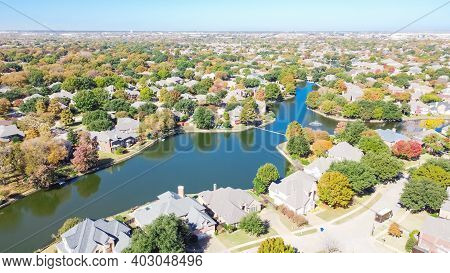 Aerial View Upscale Lakeside Houses Surrounded By Beautiful Autumn Leaves In Coppell, Texas, Usa