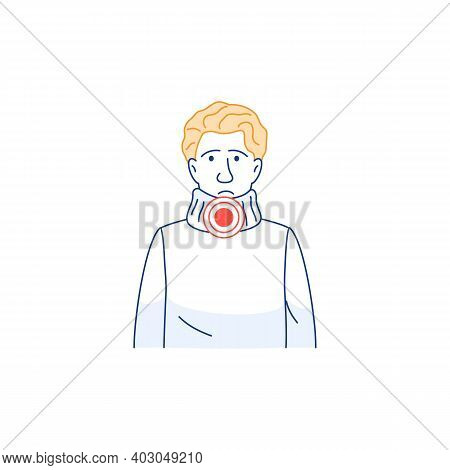 Sore Throat Pain, Difficulty Swallowing Thin Line Icon. Young Man Avatar With Sick Throat Isolated O