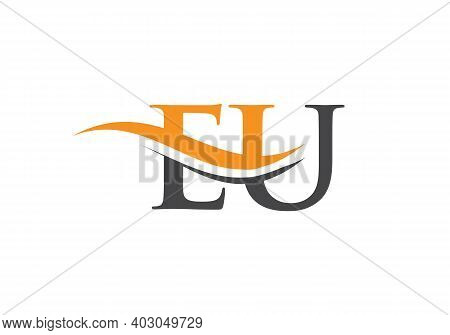 Water Wave Eu Logo Vector. Swoosh Letter Eu Logo Design For Business And Company Identity.