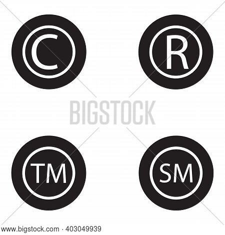 Copyright And Register Trademark Icon Set. Copyright, Registered Trademark, Smartmark Icons Set