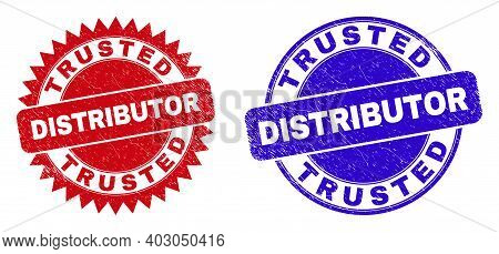 Round And Rosette Trusted Distributor Stamps. Flat Vector Scratched Seal Stamps With Trusted Distrib