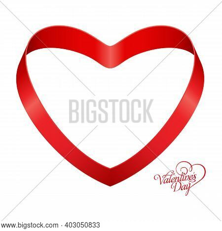 Ribbon Red With Heart Shape On Grid Background For Copy Space, Ribbon Line Red Heart-shaped, Heart S