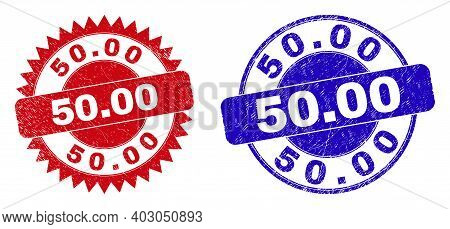 Round And Rosette 50.00 Watermarks. Flat Vector Grunge Watermarks With 50.00 Caption Inside Round An