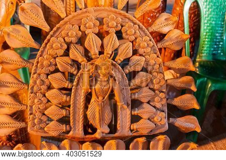 Hindu God Lord Shiva In Blessing Pose, Terracotta Show Piece Displayed, Made In Krishnanagar, Nadia,