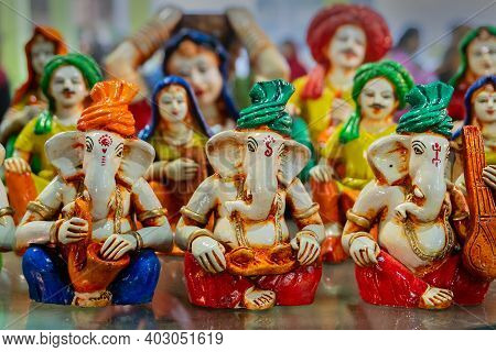 Colorful Lord Ganesha Terracotta Dolls Dressed In Traditional Indian Dresses, Made In Krishnanagar,