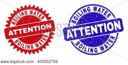Round And Rosette Boiling Water Attention Watermarks. Flat Vector Scratched Watermarks With Boiling