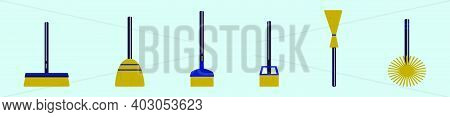 Set Of Sweep Tools Cartoon Icon Design Template With Various Models. Modern Vector Illustration Isol