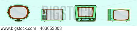Set Of Retro Television Cartoon Icon Design Template With Various Models. Modern Vector Illustration