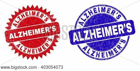 Rounded And Rosette Alzheimers Seal Stamps. Flat Vector Distress Seal Stamps With Alzheimers Slogan