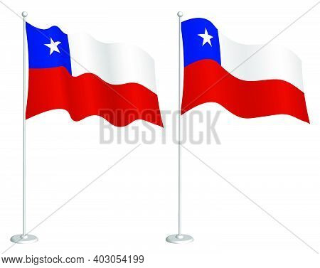 Chile Flag On Flagpole Waving In Wind. Holiday Design Element. Checkpoint For Map Symbols. Isolated