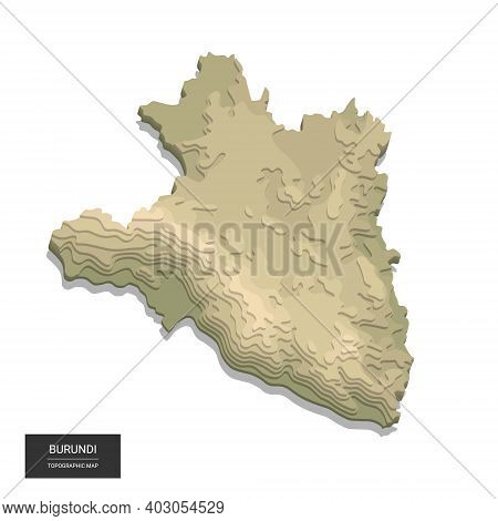 Burundi Map - 3d Digital High-altitude Topographic Map. 3d Vector Illustration. Colored Relief, Rugg