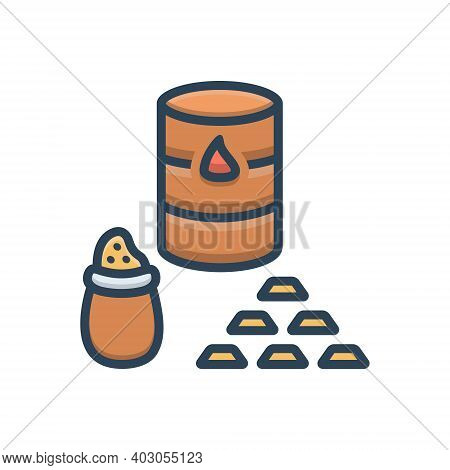 Color Illustration Icon For Commodities Trade Market Crude Gold Price
