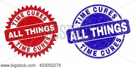Round And Rosette Time Cures All Things Seal Stamps. Flat Vector Scratched Seal Stamps With Time Cur