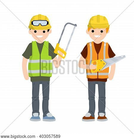 Two Men Workers In Uniform With Helmets. Jigsaw, Gloves, Glasses, Vest And Helmet. Industrial Safety
