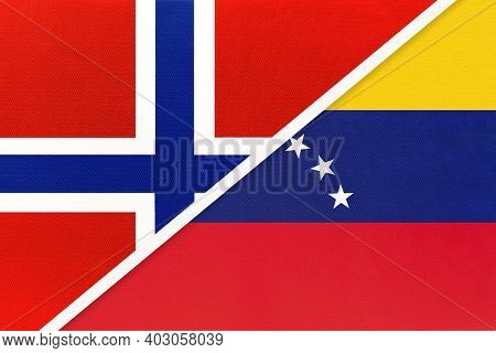 Norway And Venezuela, National Flags From Textile. Relationship, Partnership And Match Between Two C