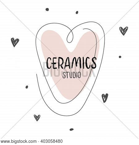 Nice Lettering Ceramics Studio With Pink Heart. Vector Logo Layouts For Art Studio, Pottery Or Ceram
