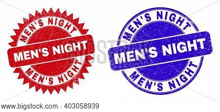 Round And Rosette Mens Night Stamps. Flat Vector Scratched Seal Stamps With Mens Night Tag Inside Ro