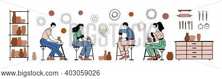 Pottery Hobby. Handcrafted Earthenware, Pottery Workshop. Ceramic Craft Master, Ceramics Pottery Art