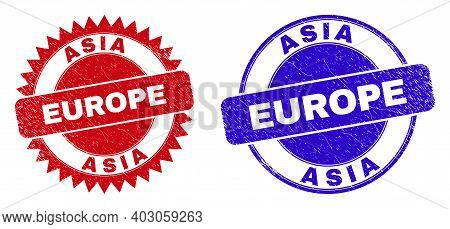 Round And Rosette Asia Europe Seals. Flat Vector Grunge Seals With Asia Europe Slogan Inside Round A