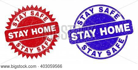 Round And Rosette Stay Safe Stay Home Watermarks. Flat Vector Distress Stamps With Stay Safe Stay Ho