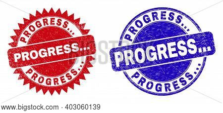 Round And Rosette Progress... Stamps. Flat Vector Grunge Watermarks With Progress... Tag Inside Roun