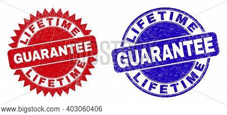 Rounded And Rosette Lifetime Guarantee Seal Stamps. Flat Vector Textured Seal Stamps With Lifetime G