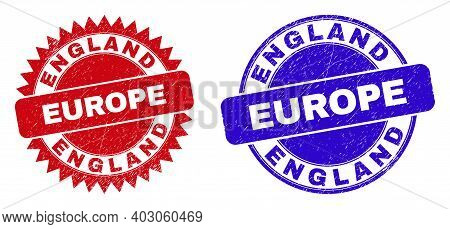 Round And Rosette England Europe Seal Stamps. Flat Vector Textured Stamps With England Europe Slogan