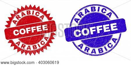 Rounded And Rosette Arabica Coffee Seal Stamps. Flat Vector Grunge Seal Stamps With Arabica Coffee T