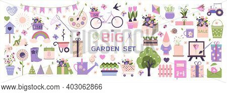 Big Spring Set. Vector Garden Tools, Flowers. Flat Design. Cute Icons For A Website, App, Sale, Or A