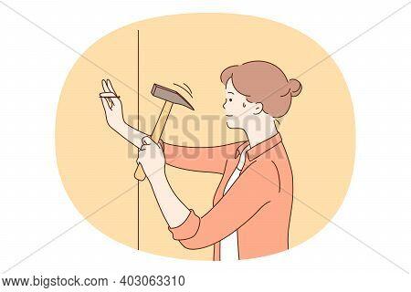 Repairing, Renovation, Housework Concept. Young Woman Cartoon Character Nailing Gaze To Wall With Ha