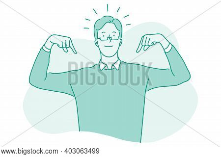 Self Confidence, Success, Leadership Concept. Happy Young Businessman Cartoon Character Standing And