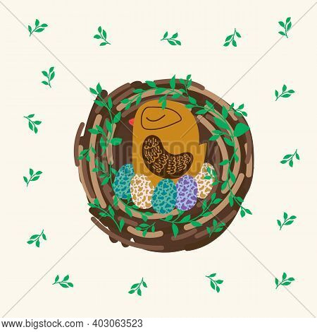 Poster Easter Bird In The Nest. Spring Pattern Of A Bird House With Eggs In A Circle Of Greenery. Il