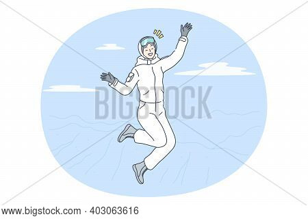 Winter Activities, Skiing, Snowboarding Concept. Young Happy Smiling Woman Cartoon Character In Whit