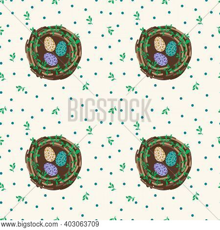 Background Of Cute Nest With Eggs. Cute Easter Poster Of A Bird House. Colored Beautiful Eggs In A W
