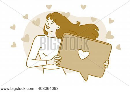 Love, Online Dating, Messaging Concept. Young Happy Smiling Woman Cartoon Character Standing Holding