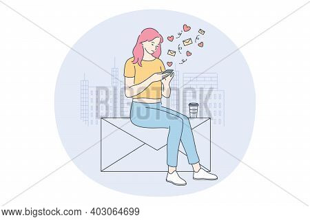 Smartphone, Online Communication And Dating Concept. Young Girl Cartoon Character Sitting With Smart