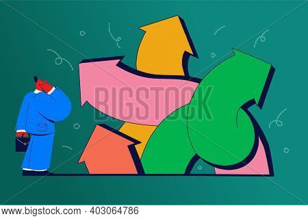 Choice, Pathway Selection Dilemma Concept. Businessman Cartoon Character Standing At Crossroads And