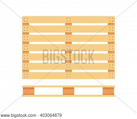Wooden Pallet Icons. Cartoon Wood Pallet Isolated On White. Top View, Front And Side View. Vector Il