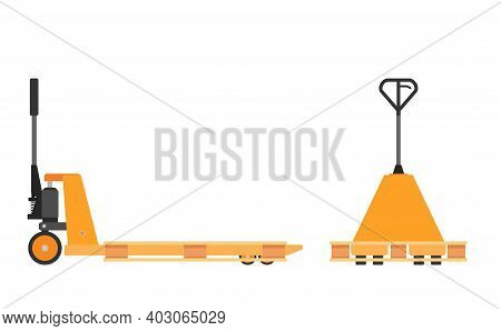 Hand Pallet Jack Lift And Wooden Pallet Isolated On White. Cargo Cart Or Forklift. Delivery, Logisti