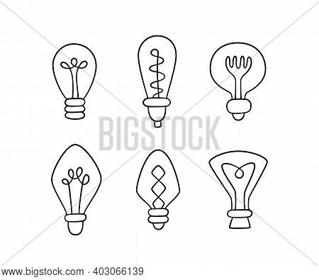 Hand Drawn Light Bulbs. Collection Of Loft Lamps In Doodle Style. Isolated Objects On White Backgrou