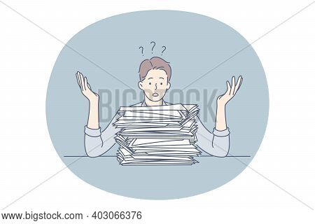 Burnout, Overload, Overwork Concept. Unhappy Depressed Man Office Worker Sitting With Heap Of Docume