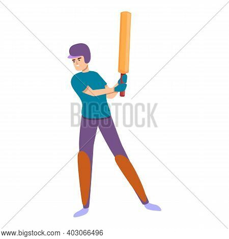 Cricket Kid Match Icon. Cartoon Of Cricket Kid Match Vector Icon For Web Design Isolated On White Ba