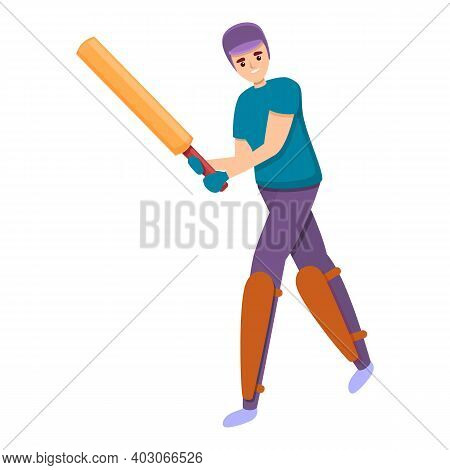 Cricket Kid Sport Icon. Cartoon Of Cricket Kid Sport Vector Icon For Web Design Isolated On White Ba