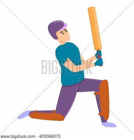 Cricket Bat Position Icon. Cartoon Of Cricket Bat Position Vector Icon For Web Design Isolated On Wh
