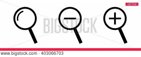 Magnifier Icon Sign Cursor Vector Illustration Set Flat Style Design Isolated On White Background. S