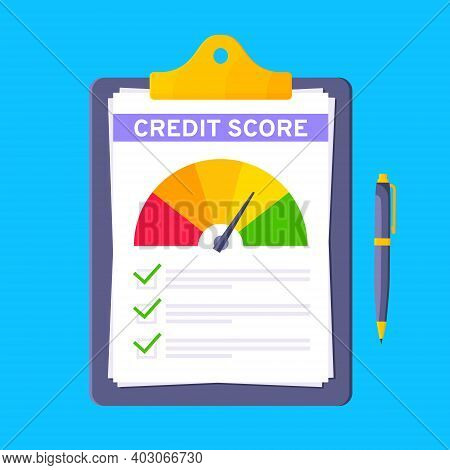 Credit Score Gauge Speedometer Indicator With Color Levels On Clipboard. Measurement From Poor To Ex