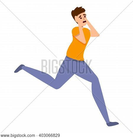 Frightened Running Boy Icon. Cartoon Of Frightened Running Boy Vector Icon For Web Design Isolated O
