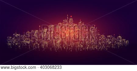 Low Poly City Skyline Panorama Vector Illustration. Digital Wireframe Of Architectural Building In P
